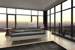 Dormitorio del diseño moderno con la opinión del paisaje imágenes de archivo libres de regalías