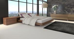 Dormitorio del diseño moderno con la opinión del paisaje Fotos de archivo