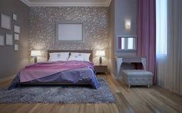 Dormitorio del hotel con el tocador Foto de archivo libre de regalías