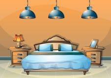 Dormitorio del interior del ejemplo del vector de la historieta Imágenes de archivo libres de regalías