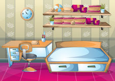 Dormitorio del interior del ejemplo del vector de la historieta Foto de archivo libre de regalías