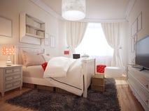 Dormitorio elegante en tendencia del art déco Imagen de archivo libre de regalías