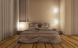 Dormitorio en la noche Imagen de archivo libre de regalías