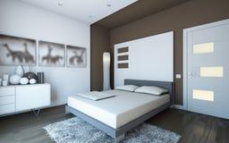 Dormitorio en marrón Foto de archivo libre de regalías