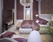 Dormitorio en un estilo clásico lujoso imagenes de archivo