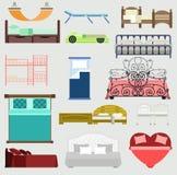 Dormitorio exclusivo del diseño del ejemplo de los muebles del vector de las camas el dormir con la visión aérea Cama de los mueb Imagenes de archivo