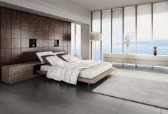 Dormitorio exclusivo del diseño con la opinión del paisaje marino Fotos de archivo libres de regalías
