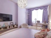 Dormitorio funcional en diseño del art nouveau Imagen de archivo