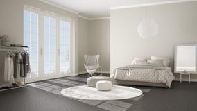 Dormitorio gris y beige moderno cómodo con el piso de entarimado de madera, la ventana panorámica en paisaje del invierno, alfomb libre illustration