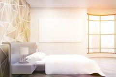 Dormitorio iluminado por el sol de New York City ilustración del vector