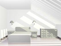 Dormitorio iluminado por el sol del ático con el tejado del cielo Fotografía de archivo libre de regalías