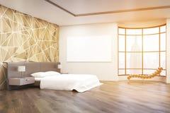 Dormitorio iluminado por el sol en Nueva York ilustración del vector