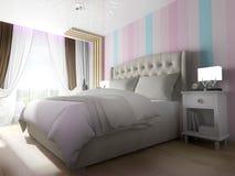 Dormitorio interior moderno representación de 3 d stock de ilustración