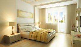 Dormitorio moderno 3d interior del estilo Foto de archivo libre de regalías