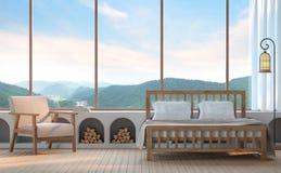 Dormitorio moderno con imagen de la representación del Mountain View 3d Fotografía de archivo