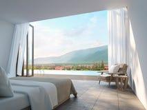 Dormitorio moderno con imagen de la representación del Mountain View 3d Foto de archivo