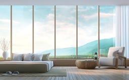 Dormitorio moderno con imagen de la representación del Mountain View 3d Fotografía de archivo libre de regalías