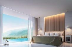 Dormitorio moderno con imagen de la representación del Mountain View 3d Foto de archivo libre de regalías