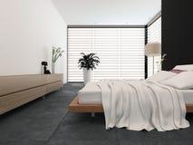 Dormitorio moderno con la decoración blanco y negro stock de ilustración