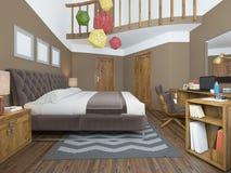 Dormitorio moderno en el estilo de las mesitas de noche contemporáneas con Foto de archivo