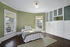 Dormitorio principal con las paredes verdes Imágenes de archivo libres de regalías