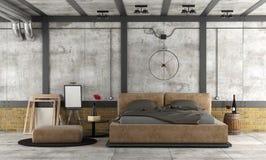 Dormitorio principal en un desván ilustración del vector