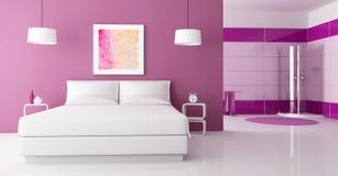 Dormitorio púrpura con la ducha de la cabina Imagen de archivo libre de regalías