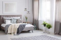 Dormitorio suave sofisticado del color Imágenes de archivo libres de regalías