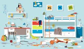 Dormitorio sucio de los niños stock de ilustración