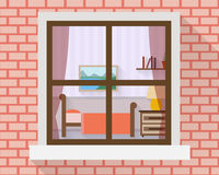 Dormitorio a través de la ventana Fotografía de archivo