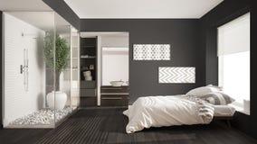 Dormitorio y cuarto de baño minimalistas con la ducha y el vestidor, fotografía de archivo libre de regalías