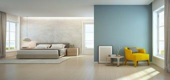 Dormitorio y sala de estar de la opinión del mar en la casa de playa de lujo, interior moderno de la casa de vacaciones Foto de archivo libre de regalías