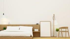 Dormitorio y sala de estar para el diseño del condominio y del hotel - representación 3d ilustración del vector