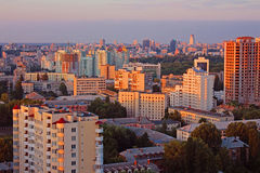 Dormitory area of Kyiv city on the beautiful sunset Royalty Free Stock Images