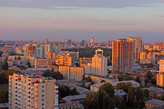 Dormitory area of Kyiv city on the beautiful sunset Stock Photo