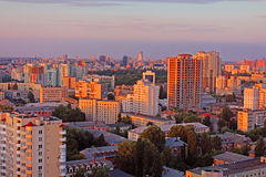 Dormitory area of Kyiv city on the beautiful sunset Stock Photos