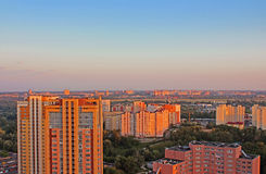 Dormitory area of Kyiv city on the beautiful sunset Stock Images