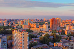 Dormitory area of Kyiv city on the beautiful sunset Stock Photography