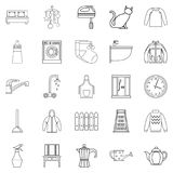 Dormitory icons set, outline style. Dormitory icons set. Outline set of 25 dormitory vector icons for web isolated on white background Royalty Free Stock Image
