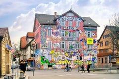 Dormitory of students is in city Tuebingen Stock Image