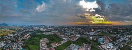 Dorne aerial photography panorama view fly above permatang pauh and seberang jaya, penang , malaysia. Panorama sunset view of butterworth , permatang pauh and Royalty Free Stock Photography