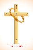 Dornenkrone auf hölzernem Kreuz Stockfotografie