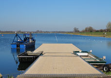 Dorney Olympic Rowing Lake with blue summer sky Royalty Free Stock Images