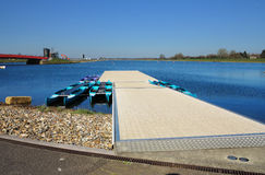 Dorney Olympic Rowing Lake with blue summer sky Royalty Free Stock Photo