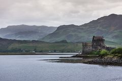 Eilean Donan Castle with confluence of lochs, Scotland. Royalty Free Stock Images