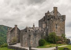 Eilean Donan Castle seen from footbridge, Scotland. Royalty Free Stock Photo
