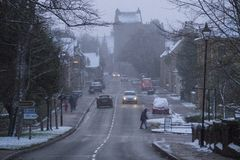 Winter snow in Dornoch Scotland Royalty Free Stock Photography