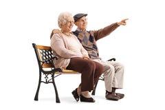 Dorośleć mężczyzna i kobiety obsiadanie na ławce z mężczyzna wskazywać Obraz Stock