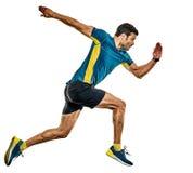 Dorośleć mężczyzny działającego biegacza jogging jogger odizolowywającego białego tło zdjęcie stock