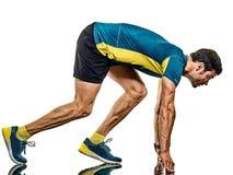 Dorośleć mężczyzny działającego biegacza jogging jogger odizolowywającego białego tło obraz royalty free